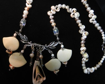 SUMMER SALE !!!!!!!    One of a kind delicate pastel pink shell necklace.