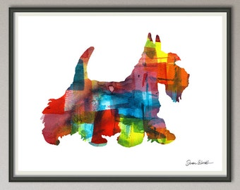 scottish terrier art print watercolor print silhouette painting print poster wall art decor, dog painting print