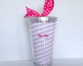 Phi Mu Acrylic Tumbler and Straw
