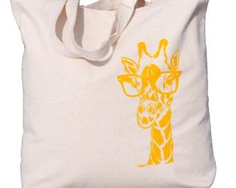 Large Canvas Tote Bags - Screen Printed Cotton Tote Bag - Whimsical Giraffe Handbag - Washable - Eco Friendly - Unique Gift Idea
