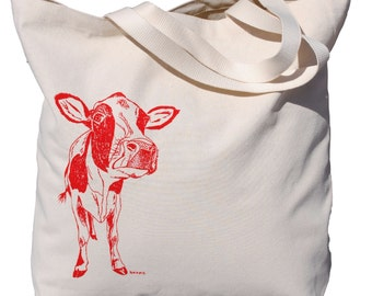 Cow Canvas Tote Bag - Screen Printed Cotton Canvas Shopping Bag - Animal Bag - Beach Bag Travel Bag Shopper Bag - Wedding Bridal Shower Gift