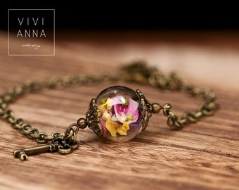 Spring Bracelet in Bronze with real flowers (A046)