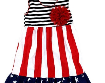 Red, White, and Blue girl dress - 4th of July - Free red hairbow or pin - July 4th Outfit