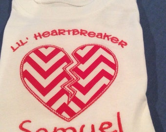Valentine's Day Boys Embroidered Applique Shirt Lil Heartbreaker