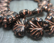 10 Czech Maple Leaf Beads Black with Copper Pressed Glass Bead Gorgeous 3826