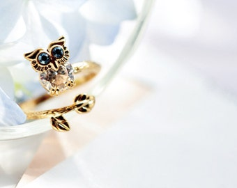 Original Design Handmade Austrian Rhinestone Owl Ring