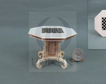 1:12 Scale Miniature Mid-Victorian Chess Table For Doll House[Unfinished]