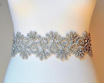 "3"" wide Stunning Crystal Bridal Sash, Wedding Dress Sash Belt, Rhinestone Sash, Rhinestone Bridal Bridesmaid Belt, Wedding dress sash - SISI"