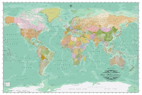 Modern World Map 2015 in Color on Canvas Custom by MondoMappa