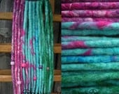 Summer wool dreadlocks, 6 Double Ended and 4 Single Ended dreads + beads