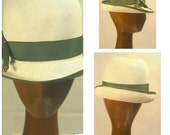 Vintage Women's White Straw Fedora with Green Trim, Band. Size-21 Inch