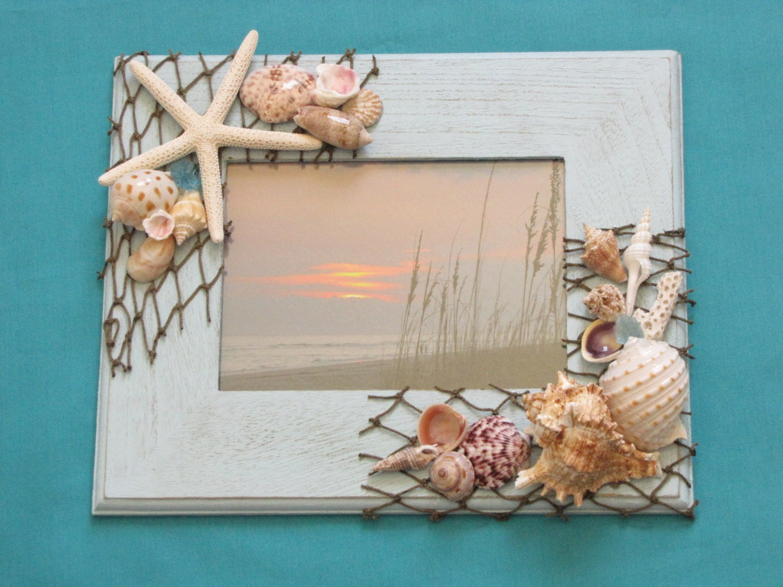 Blue Seashell Photo Frame Shell Picture Frame Beach Decor