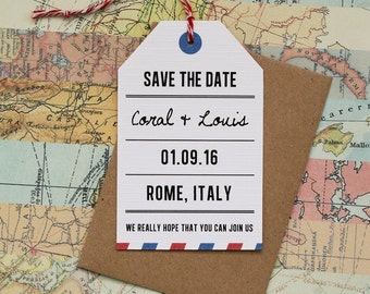 Save the Date - Vintage, Airmail, Travel Themed Wedding, Destination