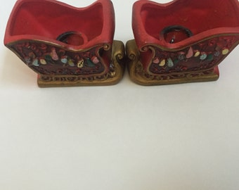 Vintage Napcoware  Japan Sleigh Candle Holders A Pair