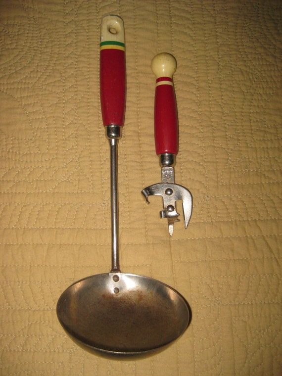 Vintage Red Handled Kitchen Utensils Ladle And Can Opener