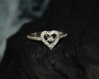 Vintage Victorian Edwardian Diamond Heart 925 Sterling Milgrain Filigree Anniversary Wedding Engagement Ring #BKC-RNG125