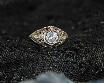 Vintage Victorian Edwardian CZ 925 Sterling Milgrain Lacey Filigree Ring #BKC-RNG143