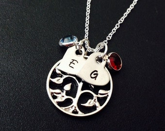 Mothers Necklace Tree of Life Necklace Birthstone Jewelry Necklace -925 Silver Necklace Family Tree Charm Necklace Personalized Necklace
