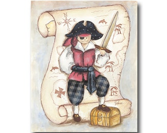 """pirate art panel- pirate art for kids rooms- 11""""x14"""""""