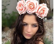 Peach Three Rose Headband/Flower crown/Festival/Wedding/Ascot Ref:0001