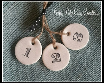 Set of Three {3} Numbered Polymer Clay Tags (1,2,3)