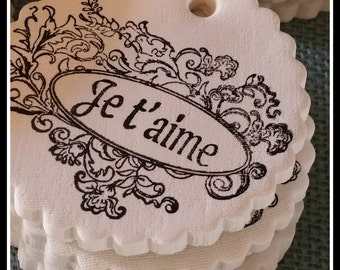 Je t' aime (I love you) French Inspired Polymer Clay Gift Tag/Ornament