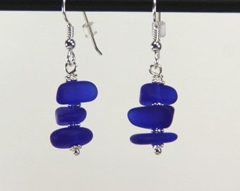 Sea Glass Pebble Dangle Earrings with Steriling Silver Ear Wires~Cobalt