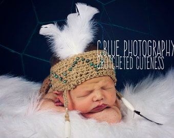 Crochet Indian Headband.  Made to order. photography prop.