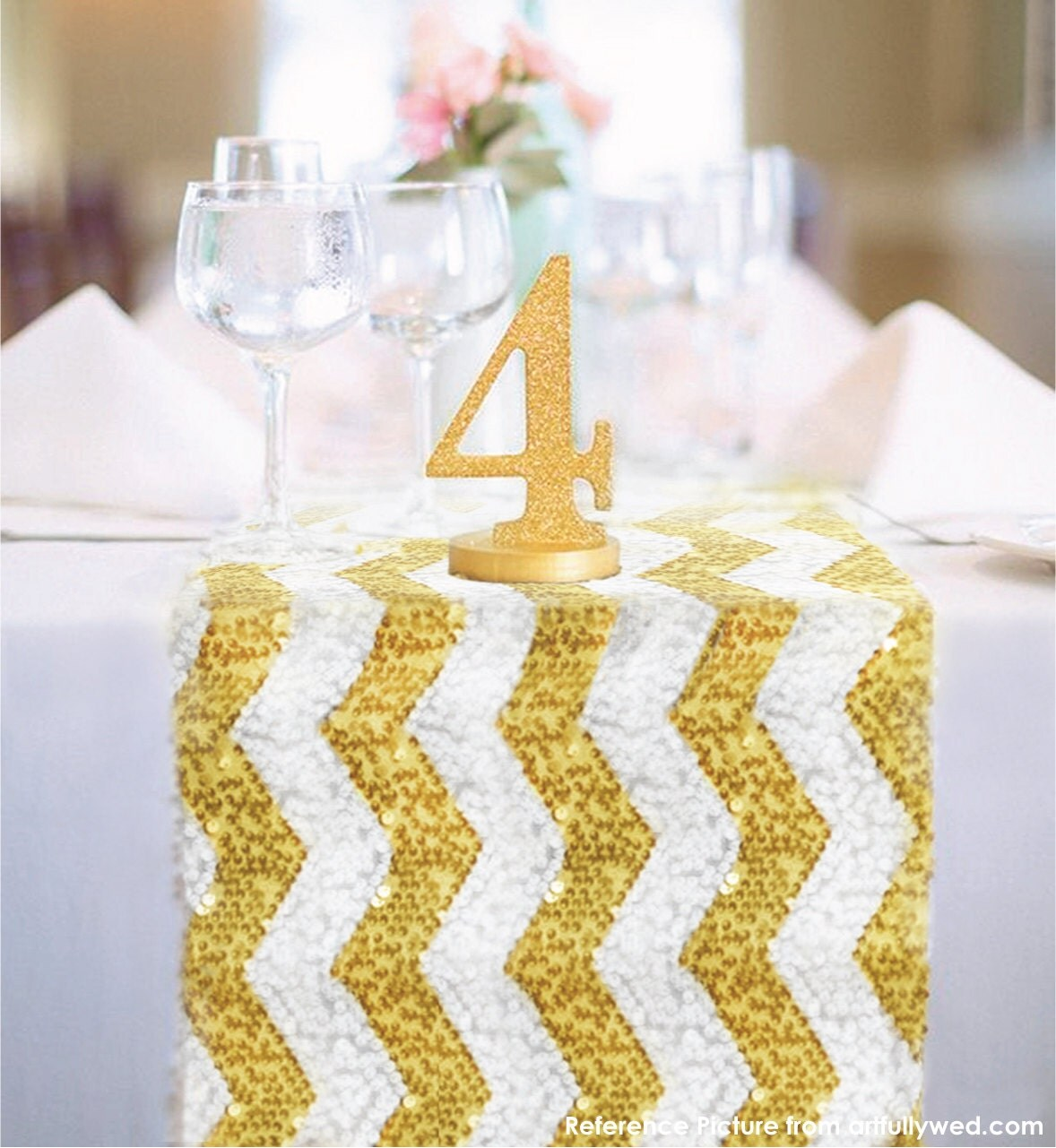 chevron gold and white sequin table runner ready to ship. Black Bedroom Furniture Sets. Home Design Ideas