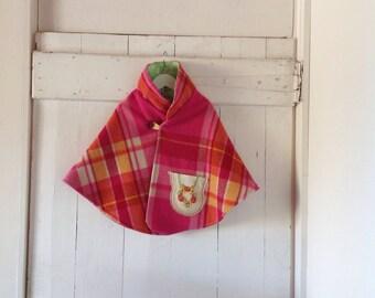 Children's Girls Bubblegum Pink Woollen Cape.Size 5 to 8.