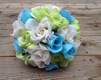 Ivory, Turquoise and Green Bridal Bouquet and Boutonniere