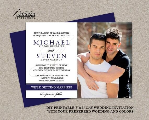 Gay Wedding Invite: Items Similar To Gay Wedding Photo Invitations, DIY
