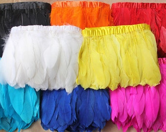 Goose  Pallets Parried Fringe/ Feather Trims / Sewn on Feathers 2 yards (GA, USA)