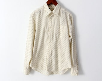 vintage 70s men's shirt, Fink button down print shirt