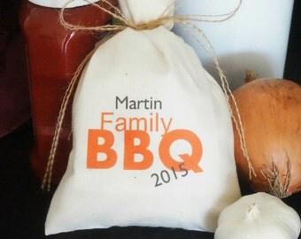 Set of 10 Personalized Muslin Favor Bags, Family BBQ, Fabric Bag, 5 x 8,  Favor Bag, Reunion Favor, Party Favor, BBQ Favor