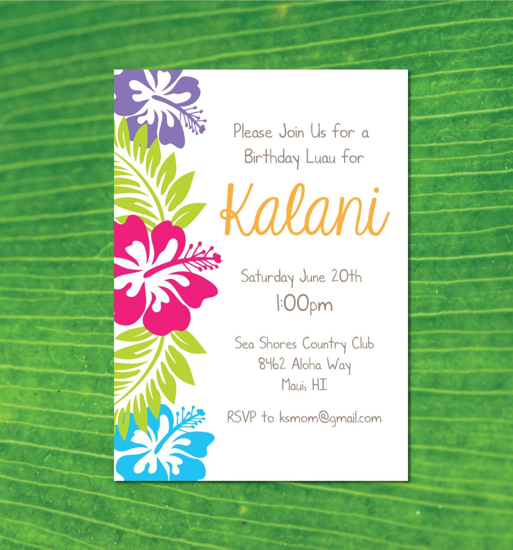Hawaiian Luau Birthday Party Invitation Hawaiian Party