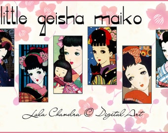 little geisha maiko INSTANT DOWNLOAD Asian pendants  digital domino Japanese printable scrapbook