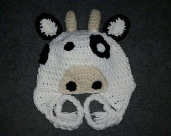 Custom Crochet Cow Hat
