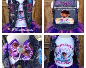 Doc Mcstuffins tutu set, Tutu set, doc custom vest, Custom doc McStuffins, Doc McStuffins tutu, Doc vest