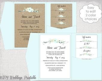 "Pocket Wedding Invitation Template DIY pocketfold wedding invitations ""Rustic Flowers Aqua"" Pocket fold 5x7 A7 YOUEdit Word digital Download"