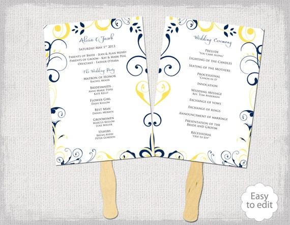 wedding program fan template scroll navy  u0026 sunbeam