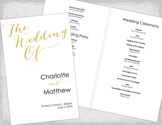 Wedding Program Template Gold Calligraphy Printable Wedding