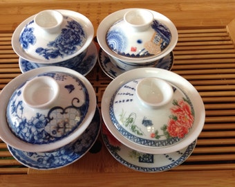 Beautifully 4Gaiwan 4oz high quality Gaiwan with one 3.5oz 2 pieces tea cups. all in one great deal very fancy