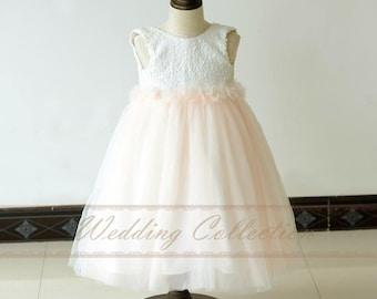 Ivory over Blush Tulle Ball Gown Flower Girls Dress