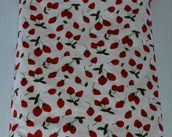 Large Cotton / Minky Baby Blanket for a Baby Girl - Strawberries!