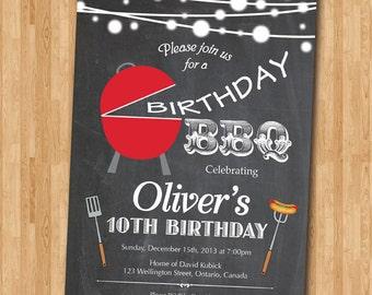 BBQ Birthday Invitation. Kids Chalkboard BBQ Barbecue Birthday Invite. Boy or Girl Bday. Printable Digital.