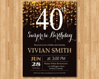 Surprise 40th birthday invitation. Forty and fabulous. Gold Glitter Glam Birthday Invite.Any age. Printable digital