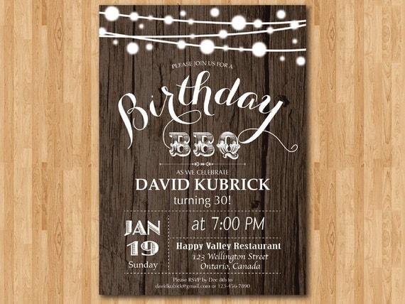 Bbq Einladung 30 Geburtstag Holz Rustikal