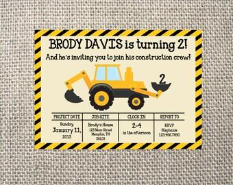 PRINTED or DIGITAL Construction Dump Truck Dirt Birthday Invitations 5x7 Customized Construction Design 0.82 each