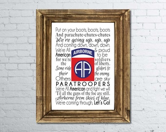 82nd Airborne song print